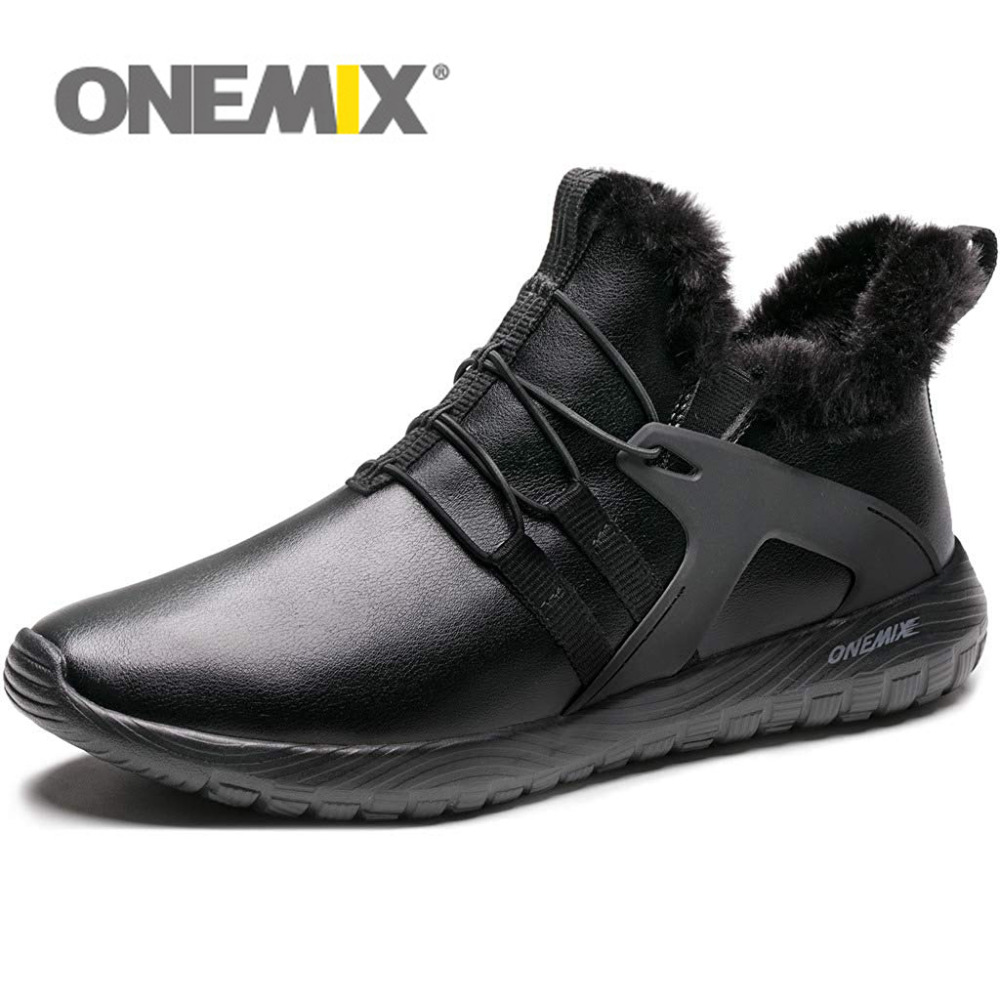 ONEMIX 2019 Men Running Shoes Black Warm Winter Sneakers PU Upper Slip On Comfortable Outdoor Walking Shoes