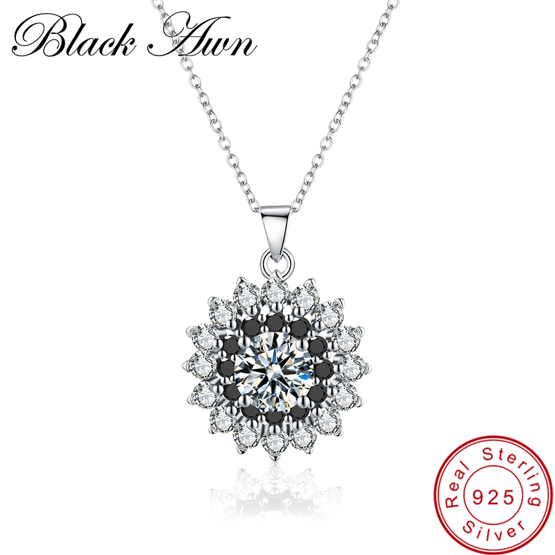 [BLACK AWN] Fine Genuine 100% 925 Sterling Silver Necklace for Women Classic Necklaces Pendants Sterling Silver Jewelry P047