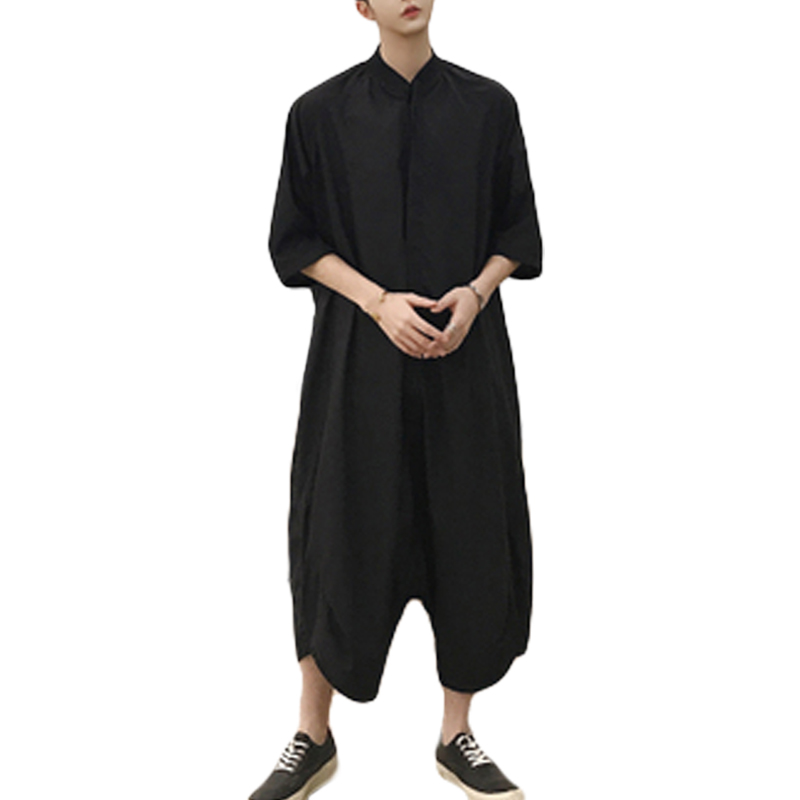 Summer Mens Loose Cargo Pants Jumpsuits Fashion Design One Piece Black Rompers Harajuku Streetwear Overalls Male Hip Hop Rompers