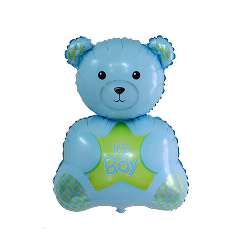 Cartoon Bear Pink Bule 76*49cm Inflatable Foil Balloons Romantic Wedding Decorat