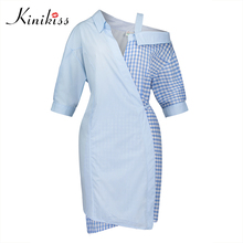 Kinikiss 2017 women blue plaid color block bodycon dress spring autumn half sleeve sexy club dress asymmetric patchwork dress