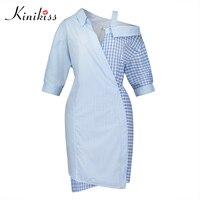 Kinikiss 2017 Women Blue Plaid Color Block Bodycon Dress Spring Autumn Half Sleeve Sexy Club Dress
