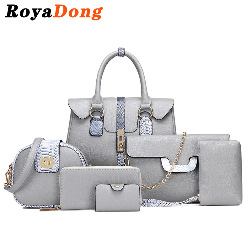 RoyaDong Designer Women Composite Bags Pu Leather With Serpentine Women's Handbags Shoulder Bag Set For 6 Pieces 2017 Winter New