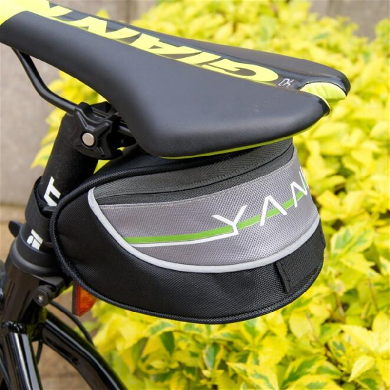 Outdoor Mountain Cycling <font><b>Bike</b></font> Bicycle Saddle <font><b>Bag</b></font> Back Seat Tail Pouch Package Quick Release Black grey image