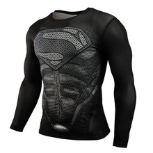 Hot Sell New Fashion Male Brand Clothing long Sleeve Men T Shirt Superman Slim Compression Fit  Elastic Crossfit 3D Tops Shirts