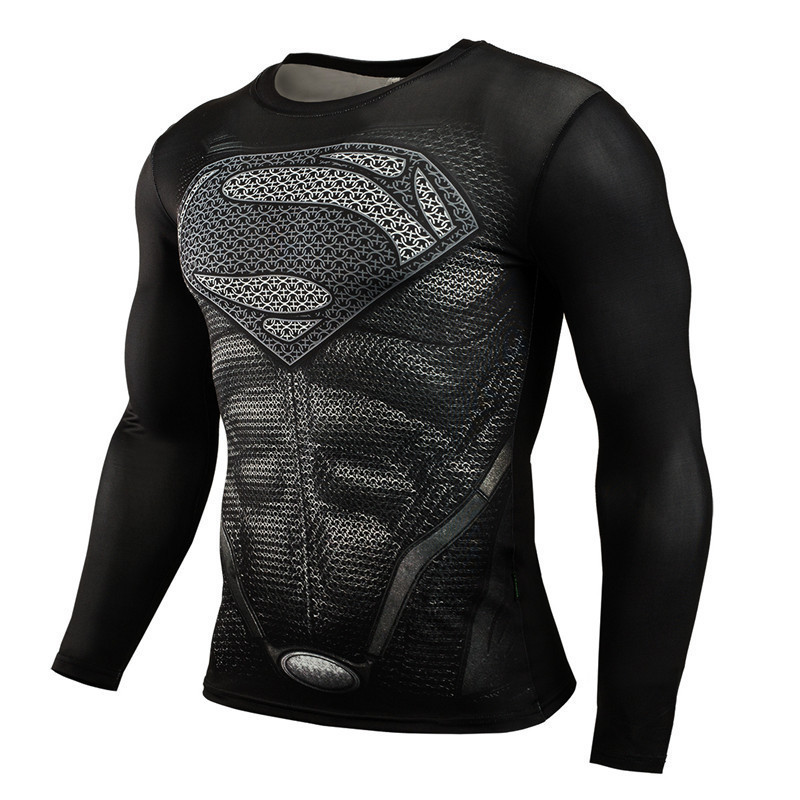 새로운 패션 보디 빌딩 긴 소매 T 셔츠 남성 피트니스 슈퍼맨 압축 셔츠 남성 탄성 크로스 Fit 3D 탑 남성 의류