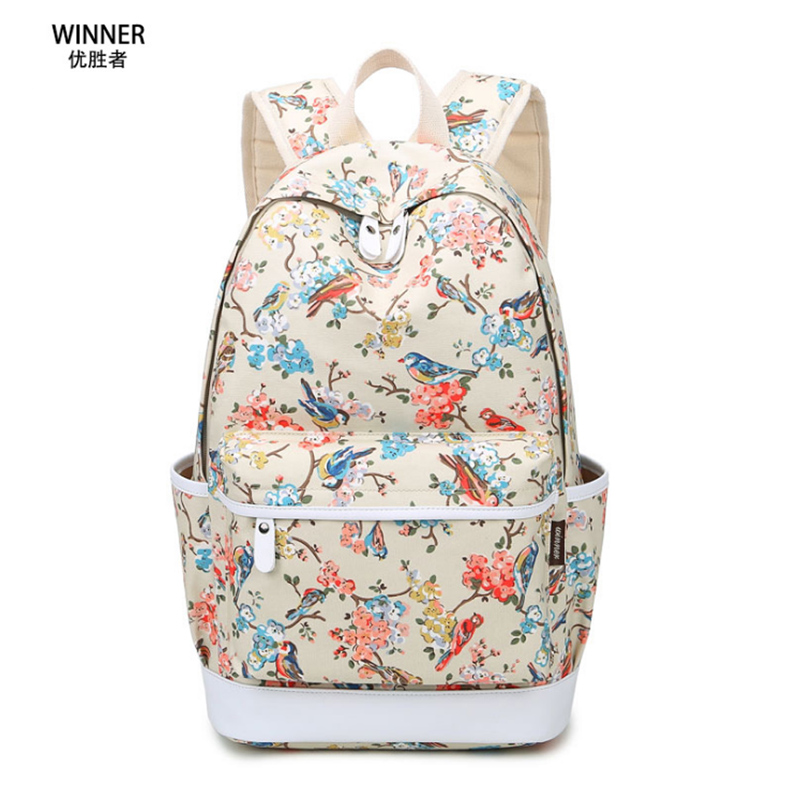 Winner School Vintage Preppy Style Rucksack Girls Floral