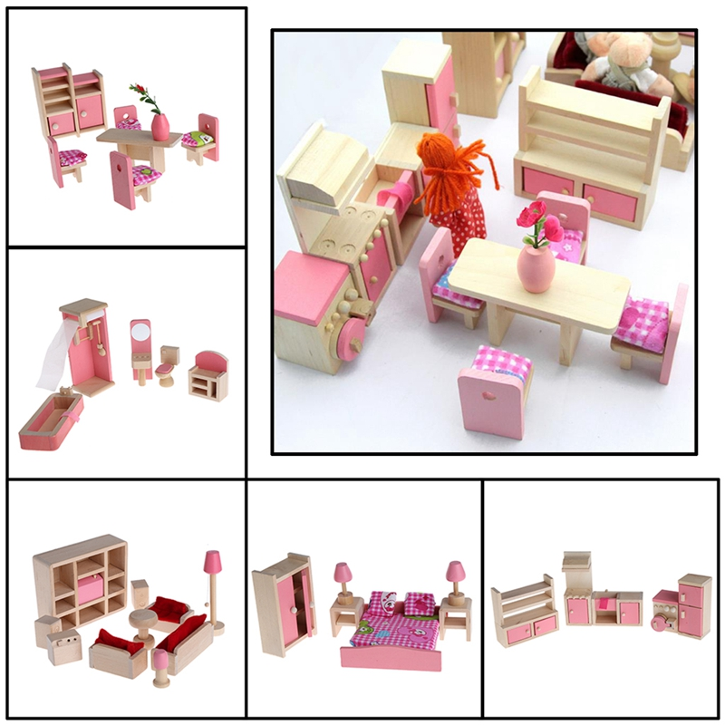 Kids Pretend Play Wooden Furniture Dolls House Miniature 6 Room Set Doll Toy Gift For Children Furniture Toys