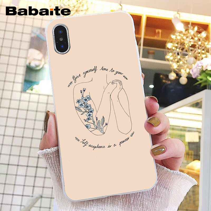 Babaite arte estética flor palavra citações telefone estojo para iphone 11 pro 11pro max 6 s 6 mais 7 mais 8 8 mais x xs max 5 5S xr