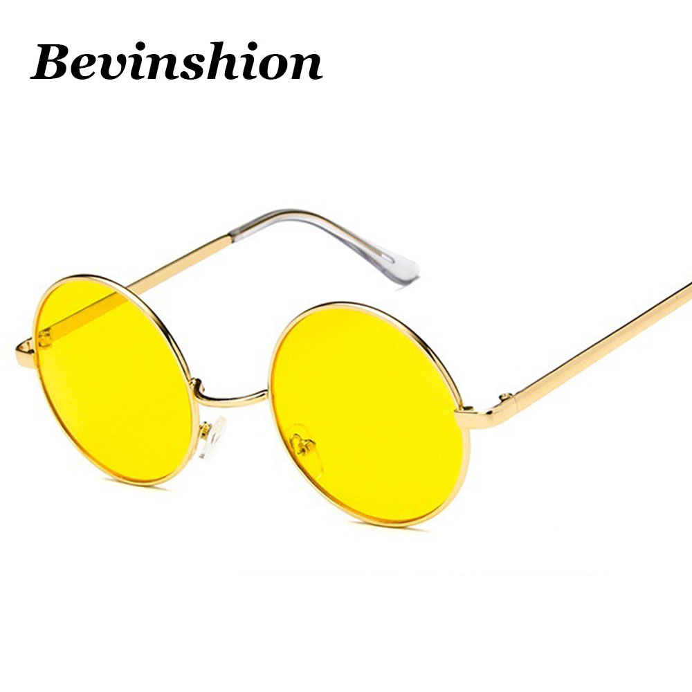 0a63c8ac45ea5 CLASSIC VINTAGE RETRO Style SUN GLASSES Small Gold Metal Frame Red Yellow Lens  Men s Accessories Sunglasses ...