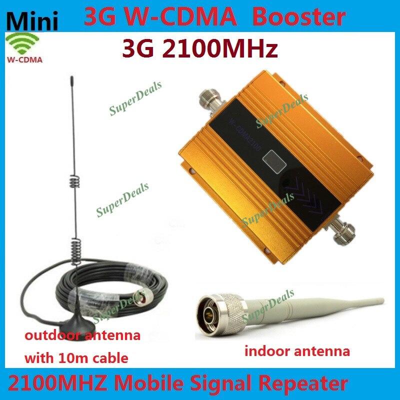 Oro Mini W-CDMA 2100 MHz 3G repetidor teléfono móvil 3G Signal Booster WCDMA Celullar señal repetidor amplificador + sistemas completos de la antena