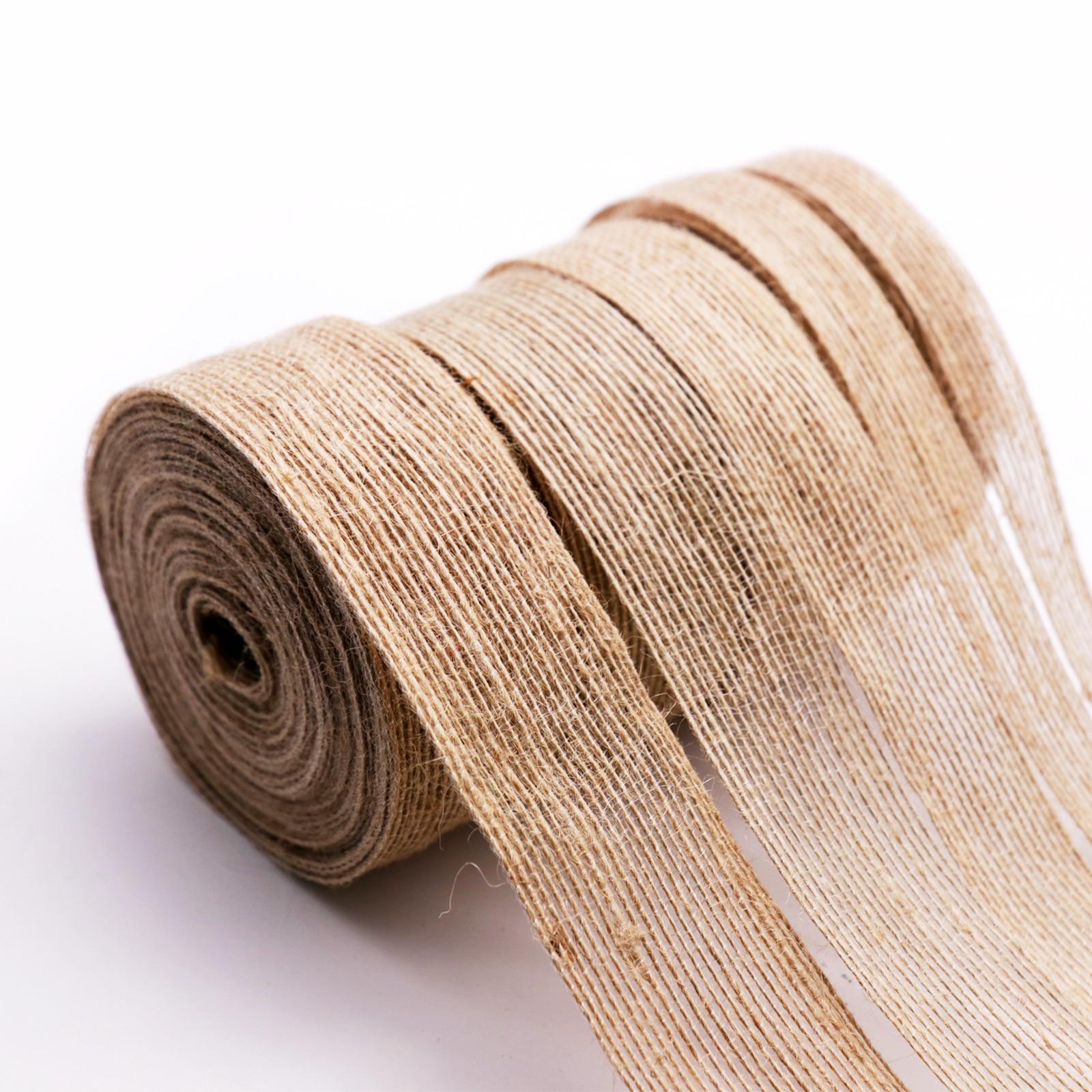 5Yard Natural Vintage Jute Burlap Ribbon 6/10/15/20/25/30/38mm DIY Bag Material Wedding Party Crafts Decorative Gift Warrping