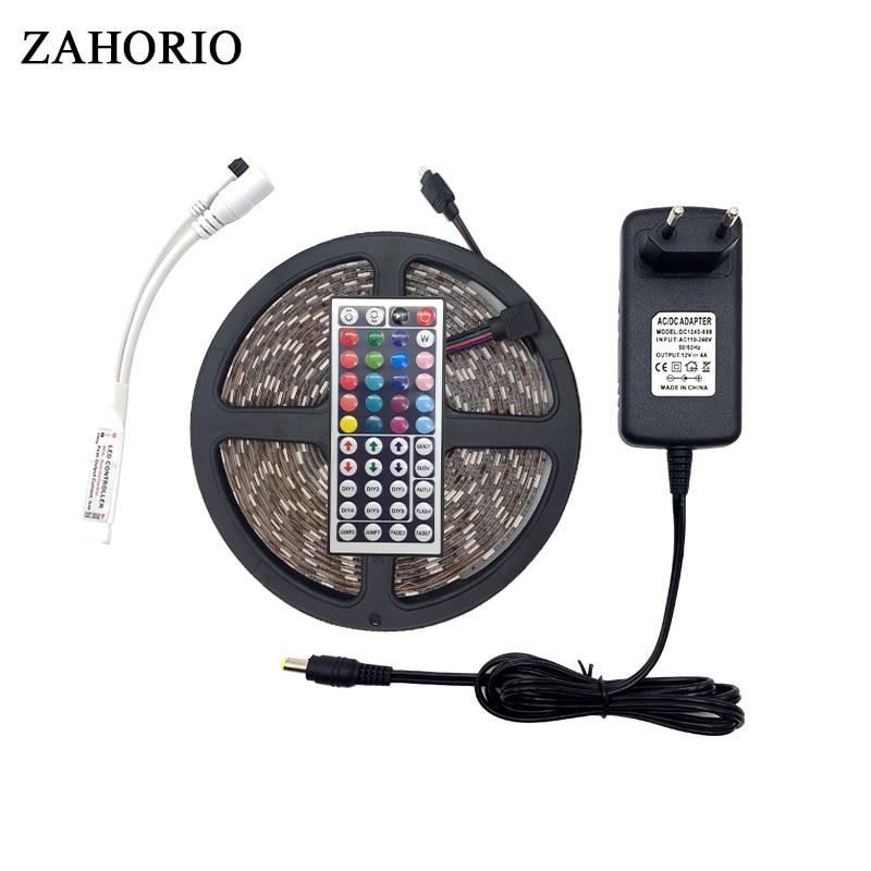 ZAHARIO 5050 LED Strip 5M 300Led SMD RGB 60LED/M Lamps DC12V 5050 Leds RGB Flexible light +44key IR Remoter+4A 6A Power Lighting