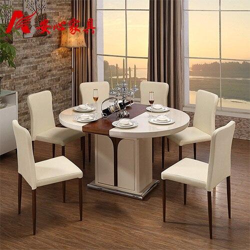 6 persona comedor combinación plegable retractable mesa de comedor ...