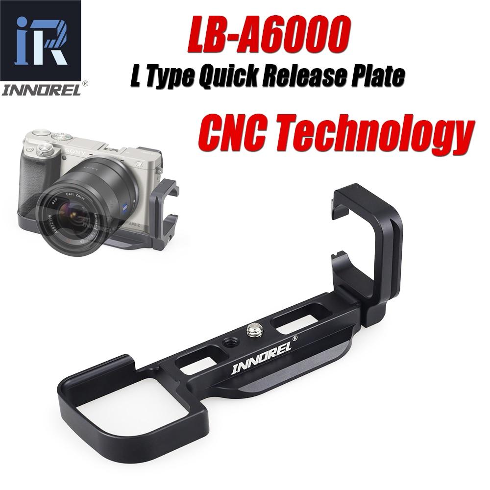 INNOREL LB-A6000 L Type plaque de dégagement rapide en alliage d'aluminium Vertical L support poignée à main l'utilisation Exclusive de Sony A6000