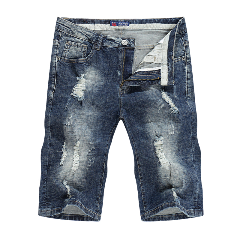 KSTUN Jeans Men Summer Shorts Stretch Dark Blue Hiphop Streetwear Biker Jeans Shorts Man Vintage Pants Ripped Slim Male Short 11