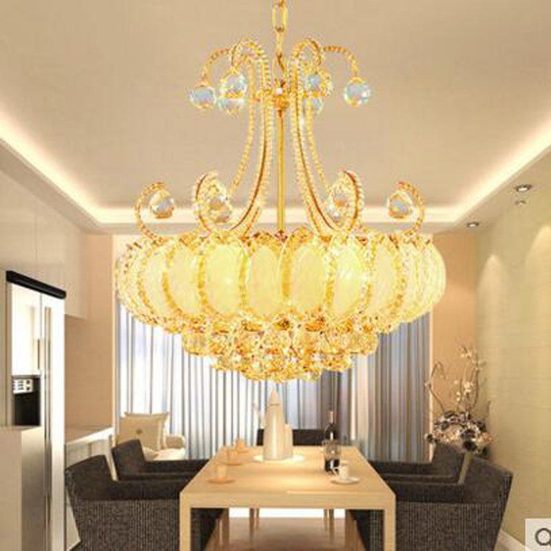 Modern minimalist golden LED crystal chandeliers atmosphere hall living room lamps restaurant lighting creative meal pendant LED цена 2017