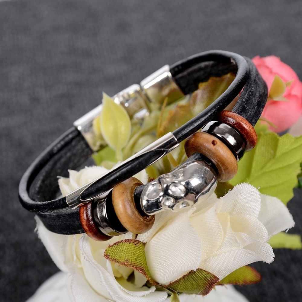 Fashion Punk Style Infinite Adjustable Bracelet Butterfly Bracelets PU Leather Braided Hand Men/Women Jewelry Bangle
