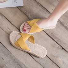 Open Toe Flat Slippers Women Shoes Casual Beach Non-slip Flat Slippers Straw Cross Tape Bowknot Sandals for Ladies Shoes Summer