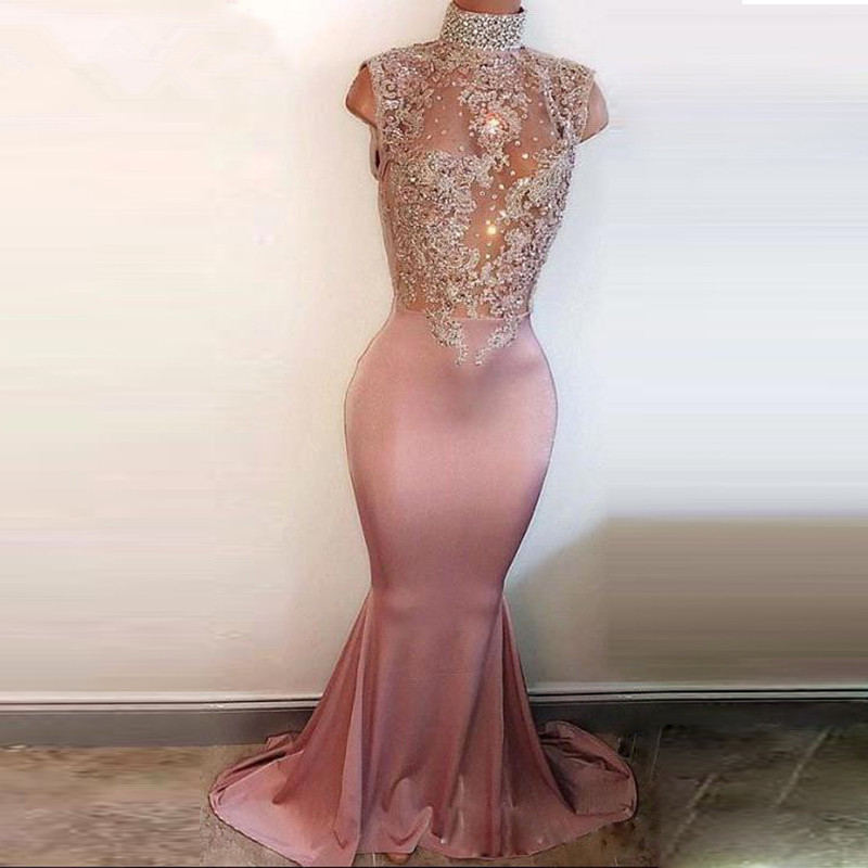See Through 2019   Prom     Dresses   Mermaid High Collar Appliques Beaded Party Maxys Long   Prom   Gown Evening   Dresses   Robe De Soiree