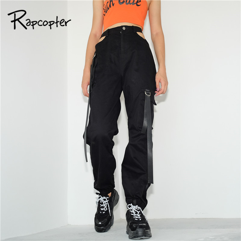 Rapcopter Streetwear Woman Cargo   Pants   Women Casual Joggers Black High Waist Loose Female Trousers Zipper Fly Ladies   Pants     Capri