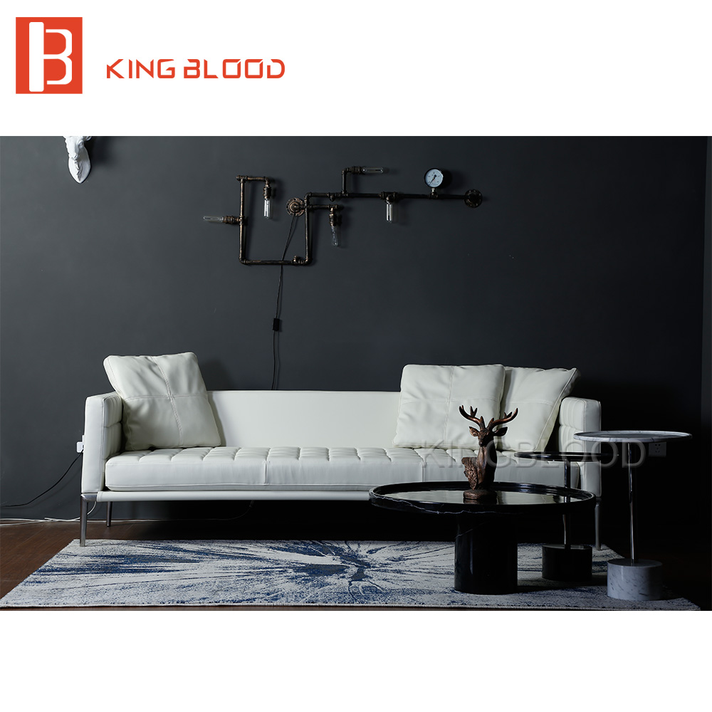 hot selling living room modern furniture white genuine leather sofa for coffee shop home office