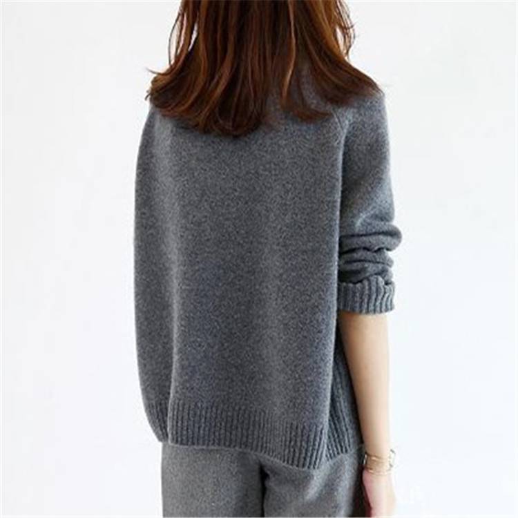 Pull Chandail l Épais Tricot Femmes En Col Coréen Lâche Au S 100Cachemire Détail Gros Grey Style Roulé Solide Dark dxhtsrQC