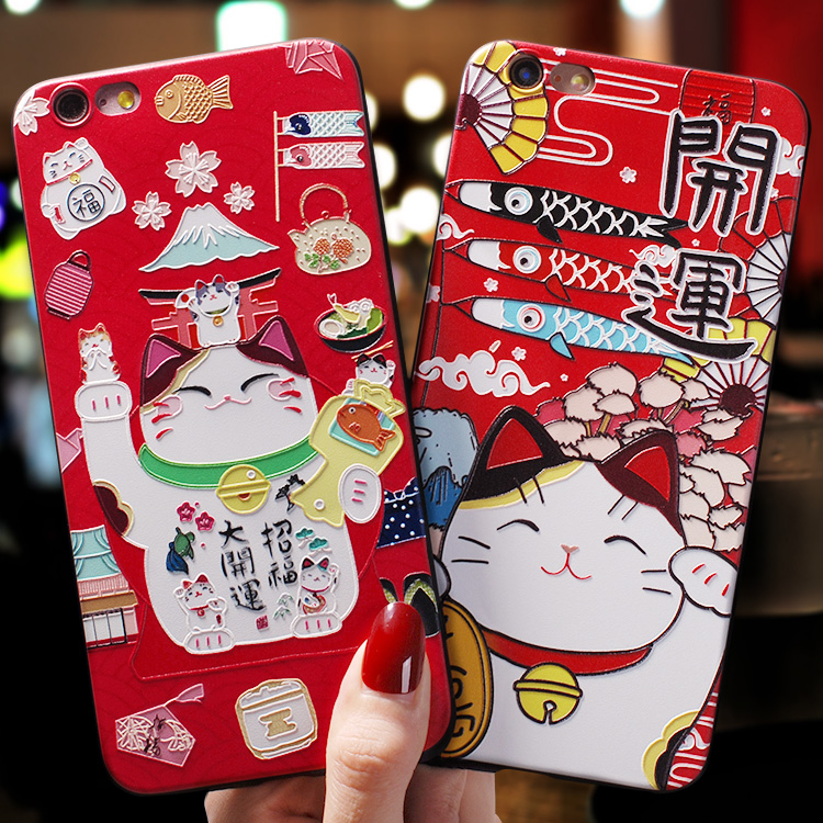Japanese style Fujiyama festival beckoning <font><b>cat</b></font> Lucky <font><b>Cat</b></font> Emboss <font><b>Case</b></font> For <font><b>Iphone</b></font> 11 PRO MAX XS MAX XR X For 7 <font><b>8</b></font> Plus 6 6S Plus image