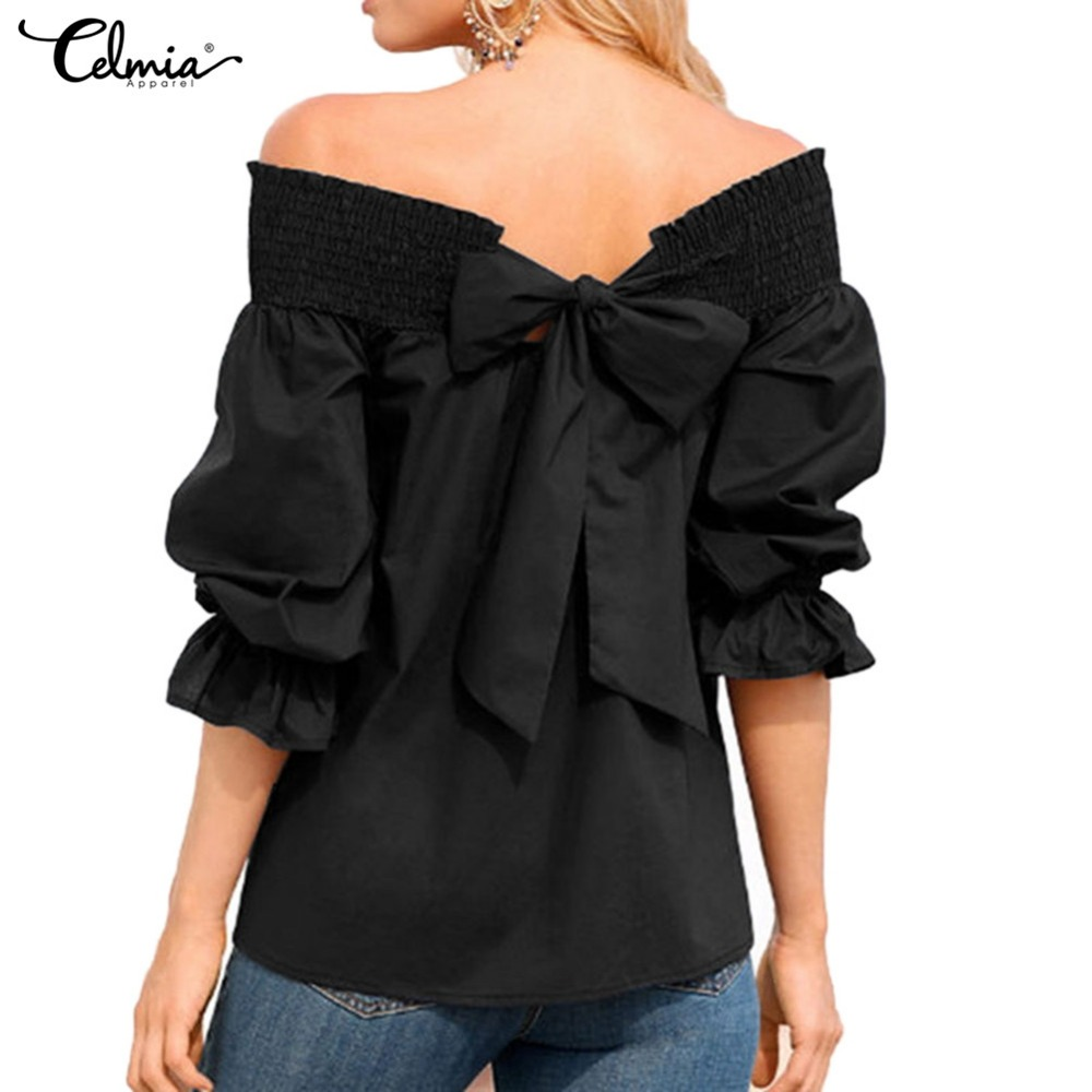 Sexy Off Shoulder Tops Celmia 2018 Summer Women Strapless Bowknot Slash Neck Blouse Casual Loose Blusa Feminina Plus Size Shirts