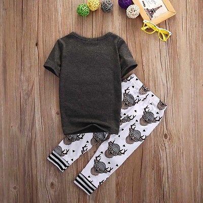 Одежда для маленьких мальчиков и девочек хлопковая футболка с коротким рукавом и надписью верх + штаны с оленями комплект из 2 предметов