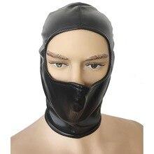 Черный мягкий кожзаменитель голова Связывание половина лица Открытый глаза голова жгут капюшон на спине молния Фетиш маска Gimp Sub Ролевой костюм