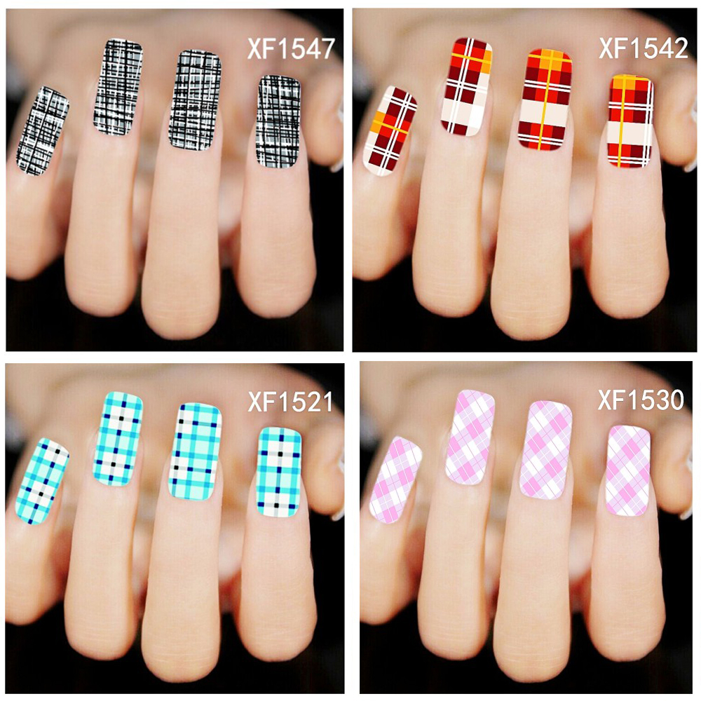 30 Styles Fashion Nails Art Manicure Decals Check Design