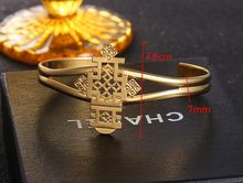 Dubai Gold Bangle Women Jewelry Gold colorCross Ethiopian Bangle Bracelet Ethiopia Africa Arab Bangles Charm Men Bracelet(China)