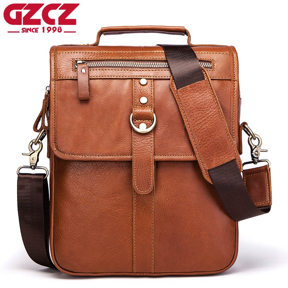 GZCZ Genuine Leather Bags Men High Quality Messenger Bags Small Travel Dark Brown Crossbody Shoulder Bag For Men 2018 yiang 2018 genuine leather bags men high quality messenger bags small travel crossbody shoulder bag small phone pouch for men