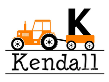 Boys Tractor Name Monogram Wall Stickers Decor Nursery Room Vinyl Wall Decal Graphics Boys Baby Bedroom