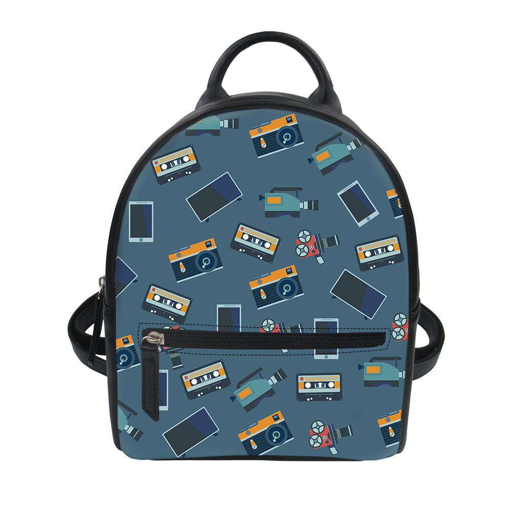 5721a85756aa US $18.91 25% OFF|FORUDESIGNS Movie Popcorn Design Black Womans School Bag  Waterproof Schoolbags 3D Printing Daypack for Travel Girls Students-in ...