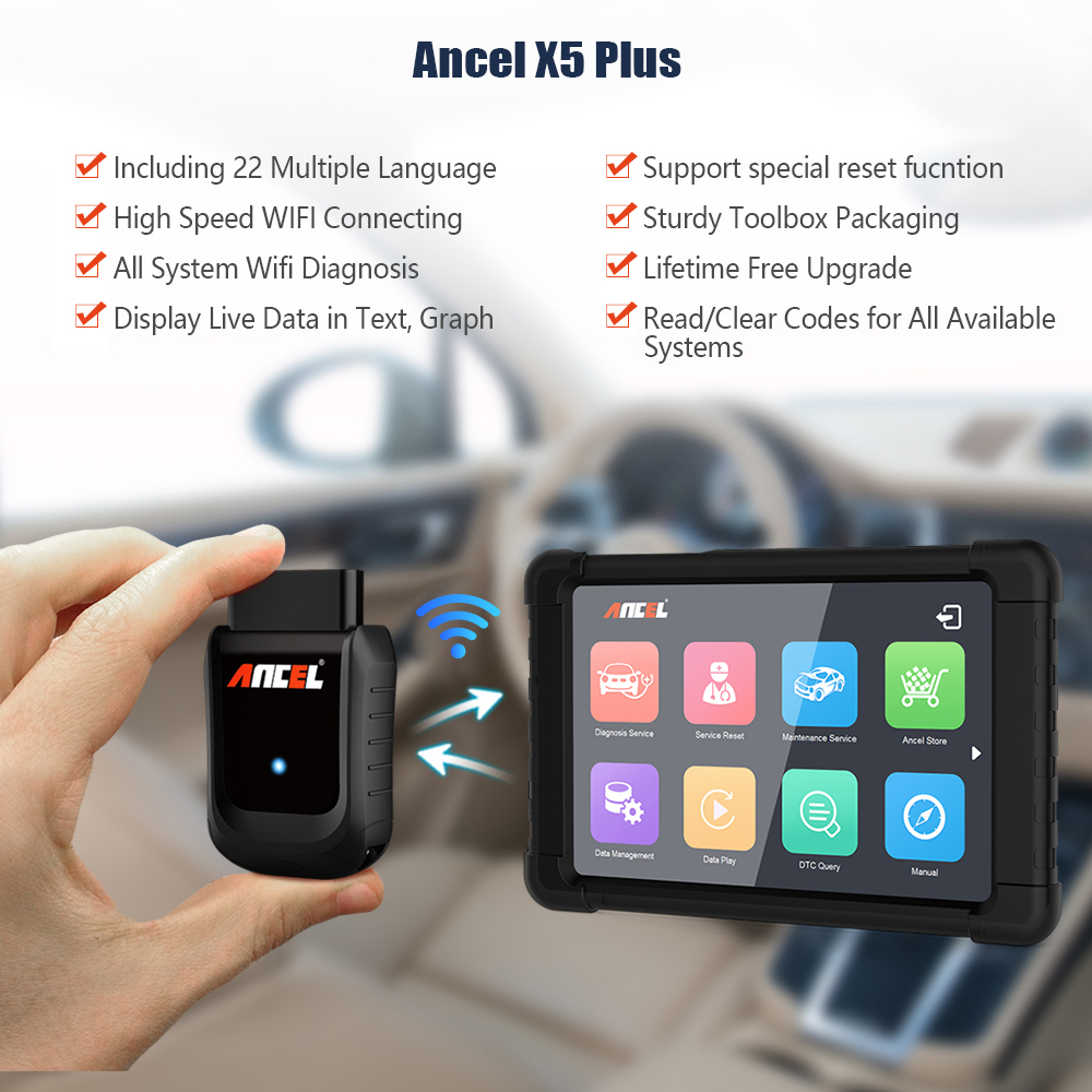 Image 2 - OBD OBD2 EOBD Automotive Scanner Ancel X5 WIFI  Win Tablet Auto Car Diagnostic Tool Airbag ABS DPF Reset Full System Diagnosis-in Code Readers & Scan Tools from Automobiles & Motorcycles on