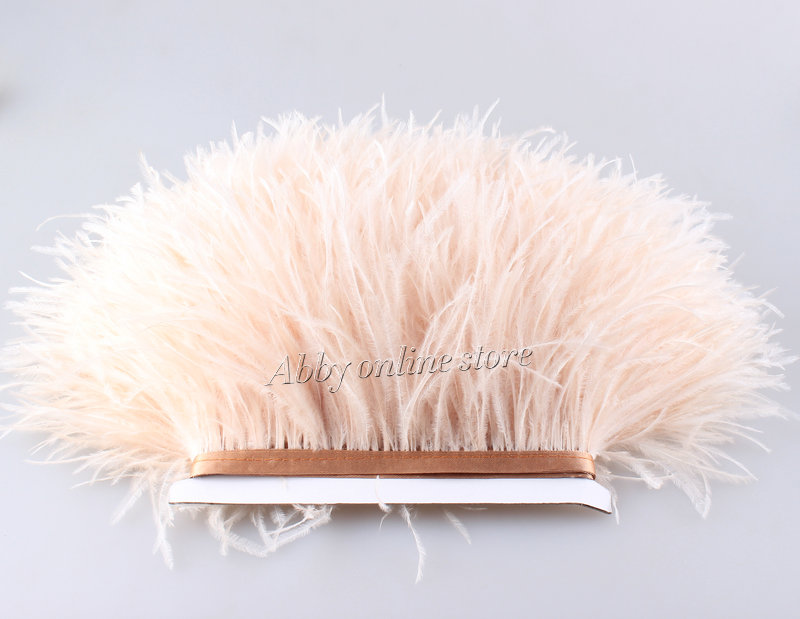 10meter lots Muticolor Long Ostrich Feather Plumes Fringe trim 10 15cm Feather Boa Stripe for Party