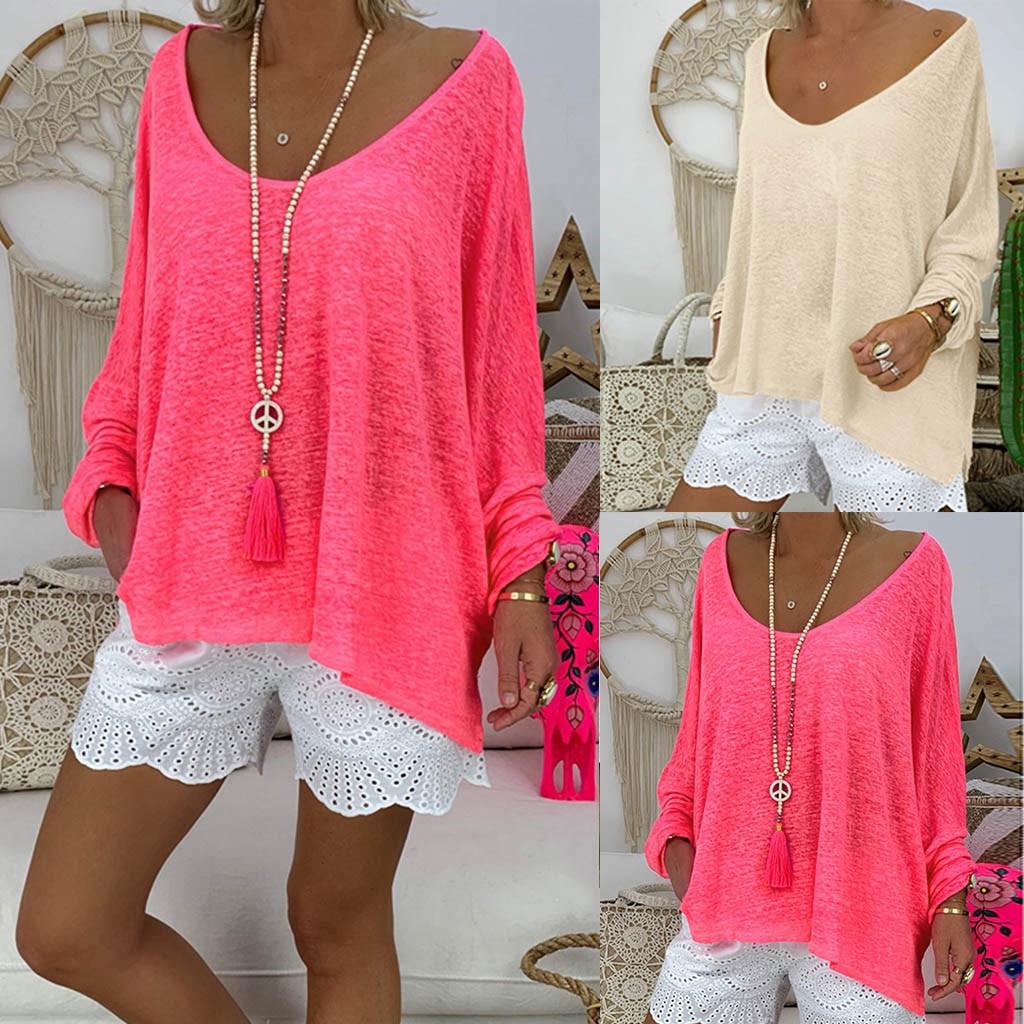 Hawcoar Autumn Women New Fashion Plus Size Deep Round Neck Long Sleeve Solid Shirt Blouse Wholesale Free Ship блузка женская Z4