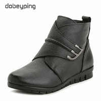 New Plush Women Boots Ankle Snow Boots Woman Keep Warm Winter Mother Shoes Soft Genuine Leather