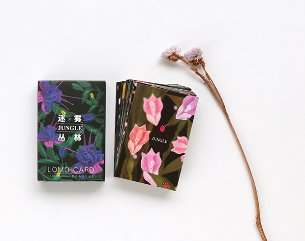 AELM027-52mm*80mm jungle flower paper greeting card lomo card(1lot=28pieces)