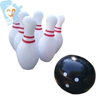 Child Outdoor Indoor Sports Game 39inch 1m Inflatable Bowling Pins Set Game 6pcs Inflatable Pins 1pc Black Ball