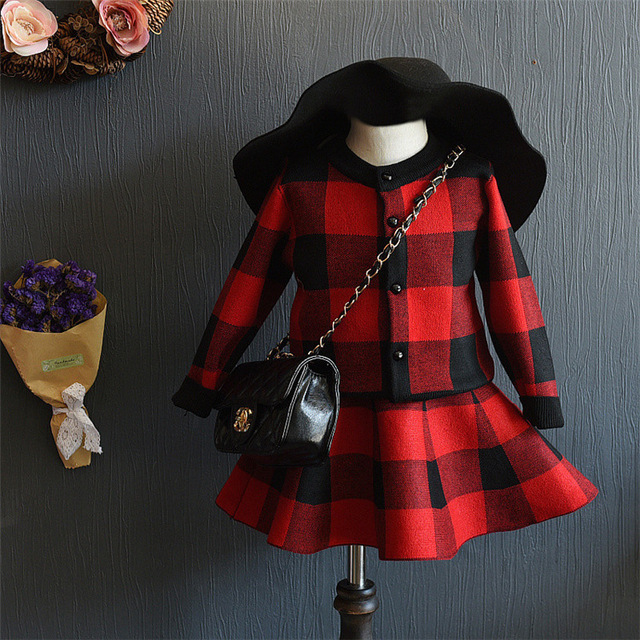 Kid Girl Red Black White Plaid Winter Clothing Sets Coat + skirt Cardigan Sweater Coat Girls Outfits Toddler Girl Clothes Jacket
