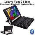 50 unids/lote mayorista Lenovo Tablet Yoga 2 8 830 830F 830L desmontable Bluetooth Wireless Keyboard + PU de cuero cubierta del soporte