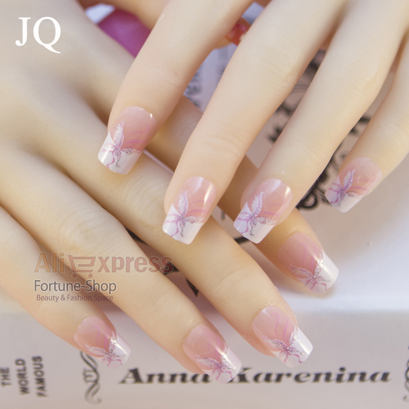 JQ 24pcs Acrylic False French Nail Tips Nep nagels Fake Nails for ...