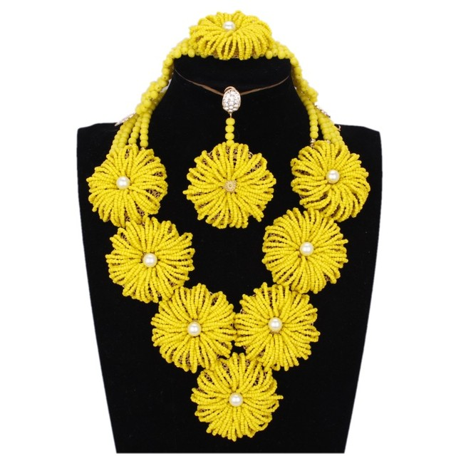 e171b443c African Costume Jewellery Gold Yellow Flowers African Necklace Antique  Bridal Jewelry Set Free Shipping 2018 Turkish Bride Set