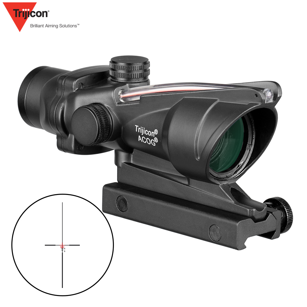 Trijicon ACOG 4X32 Scope Fiber Optics Red Dot Adjustable Illuminated Chevron Glass Etched Reticle Tactical Hunting  Sight