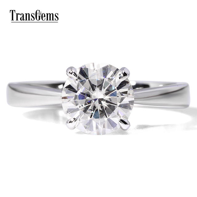 Transgems 1ct карат Лаборатория Grown Moissanite Ювелирные изделия с алмазами Свадебные Юбилей группа белого золота Обручение кольцо для женщины