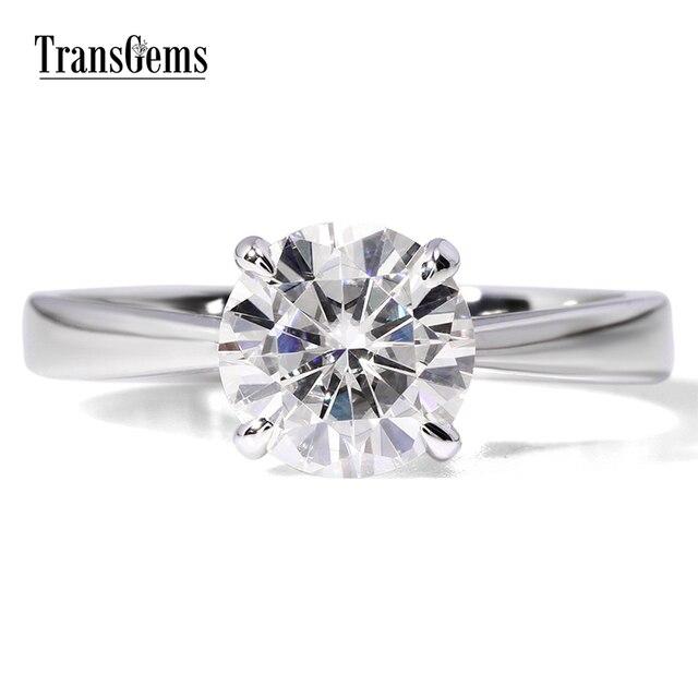 Transgems 1ct карат Лаборатория Grown Муассанит ювелирные изделия с бриллиантами Свадьба годовщина полоса белого золота обручальное кольцо для женщины