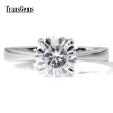 TRANSGEMS 1ct Carat Lab Grown Moissanite Diamond Jewelry Wedding Anniversary Band Solid white Gold Engagement Ring for woman недорого